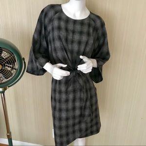 TAHARI PLAID TIE DRESS sz 16 NEW W TAGS